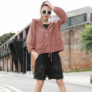 Loose Plus Size Street Casual Jacket Hooded Women 2020 Autumn New Korean Plaid Waist Cardigan Womens Long Sleeve Jacket Denim Jackets N8yE#