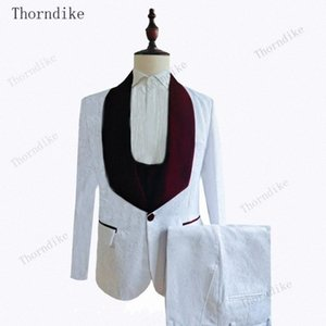 Thorndike White Jacquard Burgund Lapel Suits for Men Custom Made Slim Groom Custom 3 Piece Wedding Mens Suit (Jacket+Pants+Vest) G4EF#