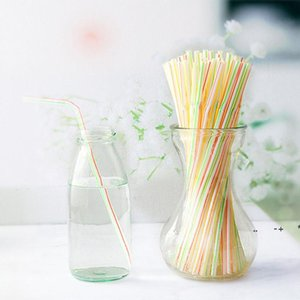 100pcs bag Disposable Plastic Drinking Straw colorful Bend Drink Straws Fruit Juice Milk Tea Pipe Bar Party Accessory EWA9648