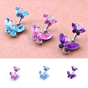 Surgical Stainless Steel zircon Butterfly Belly Button Ring Woman Body Piercing Navel ring Sexy Jewelry Navel Bell Button Rings