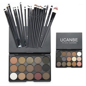 Wholesale- Fashion Make Up Set Kit 15 Colors Matte Glitter Eyeshadow Palette With 20pcs Burshes Cosmetics RP11