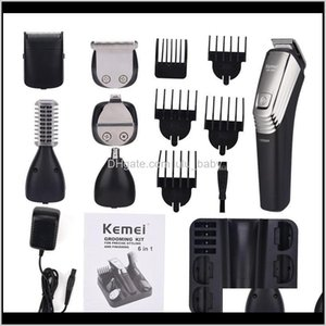 Kemei 6 In 1 Rechargeable Hair Clippers Men Shaving Machine Beard Trimmer Nose Eyebrow Shaver Electric Razor Men'S Grooming Kit 5900 S U691E