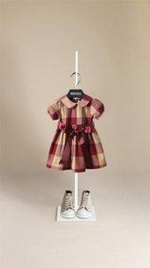 مصمم الأطفال التلبيب النفخة قصيرة الأكمام فساتين 2021 الصيف الفتيات القوس حزام منقوشة مطوي اللباس الاطفال القطن شعرية الملابس A6265