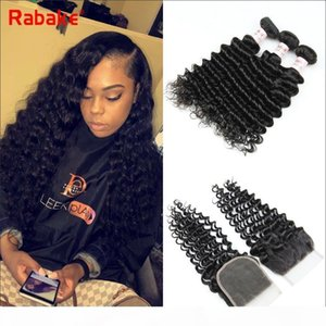 10A Brazilian Remy Deep Wave Human Hair Bundles with Closure 4x4 Top Lace Closure Peruvian Indian Malaysian Cuticle Aligned Hair Extensions
