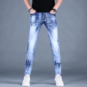 Мужские светлые синие растягивающие джинсы мужчин 2021 мода Slim Fit карандаш брюки мужские