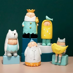 Artlovin Moderno Dibujos Animados Lindos Figurines Colorido Animal Reino Figuras Kids Room Decoration Accesorios King Queen Dolls 210318