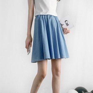 Skirts Limiguyue Summer Denim Shorts Skirt Women Elastic Waist Loose Wide Leg Pants Fake Two Blue Divided Culottes Femme K195