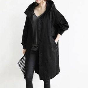 Women's Trench Coats 2021 Autumn Windbreaker Long Coat Casual Simple Fashion Style Solid Color Big Pocket Hooded Single-breasted Top