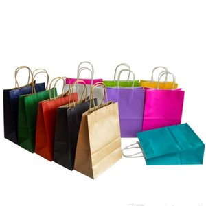 Shopping Bags Kraft Paper Multifunction High Quality soft colorful bag with handles Festival Gift Packaging 21x15x8cm ship fast