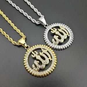 Ornamento muçulmano árabe Titanium Steel Cor Protegido Ouro-banhado a ouro True Palavras Pingente Colares