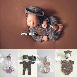 Dvotinst Newborn Baby Photography Knit Outfits Bonnet Lace Dress Hat Set Fotografia Accessories Studio Shoot Photo Props 210317