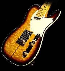 ميرل ميرل هاجارد Tele Tuff Dog Two-Tone Sunburst الغيتار الكهربائي لهب القيقب الرقبة الأصابع الأصابع، خردوات ذهبية، جسر اهتزاز