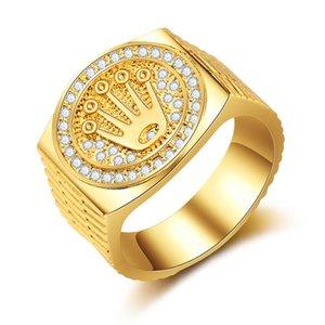 Karopel Hip Hop Bling Jewelry King Crown Día del padre Regalo para hombres Bling Bling Micro Pave CZ Color de oro Circon Anillo