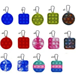 Decompression finger Keychain Toys Fidget simple dimple toy silicone key chain Anti Stress Push Bubble Board Square H311WQP
