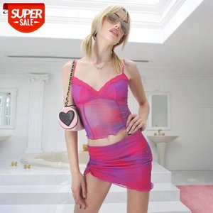 2021 Summer Sexy Mesh Two Pieces Set Women Slim Sleeveless V Neck Tank Top And High Waist Skirt Clothing Outfit Y2K Lady New #gi9N