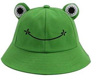 قبعة دلو الضفدع لطيف، القطن القطن دلو قبعة الشمس للبالغين الأطفال واسعة بريم الصياد قبعة