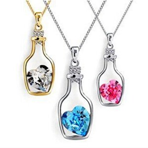 Silver Color with Wish Bottle Inlay Love Heart Crystals Vial Pendant Necklace for Women Gift ps1601