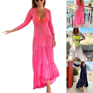 Donne Fashion Holiday Beach Spiaggia profonda con scollo a V Abbigliamento a maniche lunghe Cover Up Colore solido Irregolare Hember See-through Dress da donna Costumi da bagno da donna
