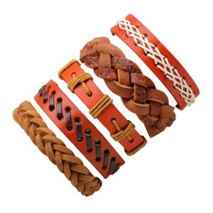 5pcs set 2021 Boho Gypsy Hippie Punk Red Brown Leather Wax White Cord Rope Knots Layers Stacked Adjustable Unisex Bracelets Set Charm