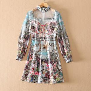 320 2021 Vestido de raza de verano de alta calidad Vestido de flora con paneles de manga larga con paneles de manga larga Marca Mismo estilo sh