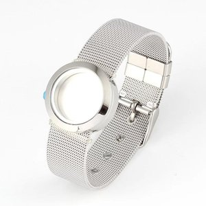 25mm 30mm 316L Stainless Steel Waterproof Screw Top Twist-off Floating Locket Bracelet With Mesh Watchband Link, Chain