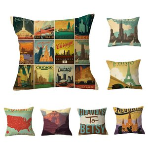 Cover Pillow with Colorful Scenery