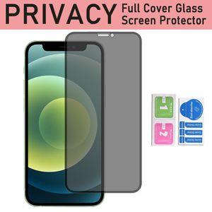 Privacidade Protetor de tela de vidro temperado para iPhone12 iPhone 12 mini 11 Pro XR XS MAX 6 7 8 Mais Capa Completa Anti-Peep Filme Anti-Glare