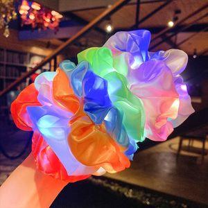 Leuchtende Scrunchies LED Hairband Pferdeschwanzhalter Headwear Girls Gummiband Elastische Satin seidig Shirchy Krawatte Haarseil Haarschmuck G21901 61 Z2