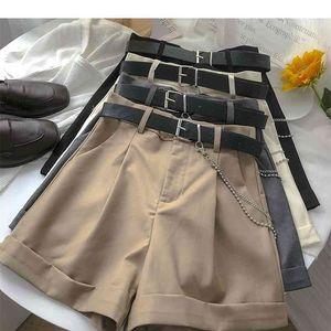 Ashgaily Neue Shorts Frauen Vintage Schärpen Alle Spiele Solide Hohe Taille Shorts Casual Lose Damen XL 210325