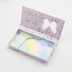 butterfly window false eyelash box long empty mink lashes cases with tray printed pink packaging GWF5953