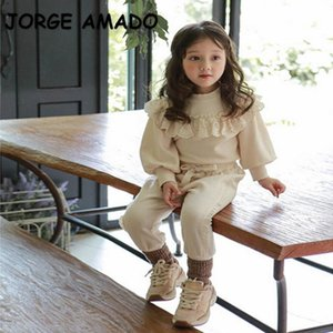 Hoodies & Sweatshirts 2021 Korean Style Autumn Kids Girls Boys Long Sleeve Pullover Cotton Lace Ruffles Top Children Outfits E633