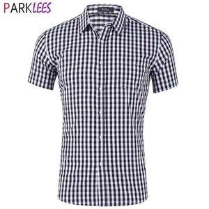 رجل أبيض أسود منقوشة قميص ماركة قصيرة الأكمام معيار تناسب الأعمال الرسمي قميص الرجال زر متقلب عارضة قميص 210522
