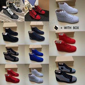 2021 men women red bottom Luxury sneakers Studded designer shoes for high top black white Spikes Genuine Leather casual rivet Sneaker #512