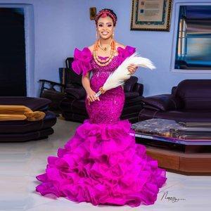 Encantador Fucshia vestidos de baile sereia ruffles mangas inchadas flouncing aso ebi lace frisado cristais vestido de noite formal para mulheres árabes 2021