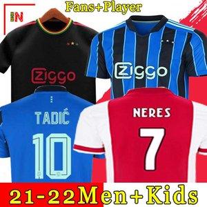 A JAX amsterdam soccer jerseys 2021 2022 KUDUS ANTONY BLIND PROMES TADIC NERES CRUYFF a J Ax jersey 21 22 men + kids kit football shirt uniforms away blue third black