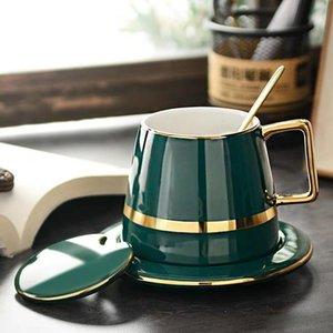 Set de glaseado verde Diseño de oro Taza de café Pequeño regalo europeo de lujo de lujo Taza de cerámica Tazas de la tarde