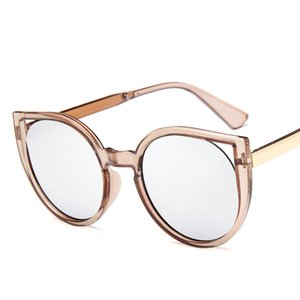 New Transparent Female Pink Sunglasses Round Rose Gold Frame Sier Lens Retro Color Mirror Glasses Oculos