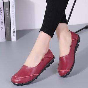 2019 New Spring Mujer zapatos Pisos Cuero genuino Mocasines de cuero Moda Femenino Zapatos Casuales Mujeres Slips en Ballet Ladies Pisos Calzado