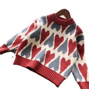 Christmas Girls love heart knitted pullover kids round collar long sleeve princess tops autumn winter children all-matching sweater jumper Q2252