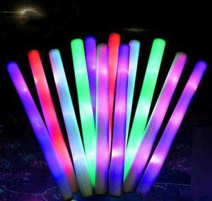 Led Stick Flashing Light Up Foam Glow Baton Rainbow Color Shinnying Sponge Wand For Concert Wedding Parties Fans Favorits