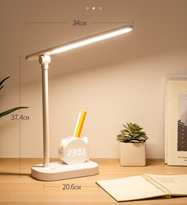 Table lamp pen holder desk with clock eye protection student dormitory study bedside large capacity super long endurance lamp high quality