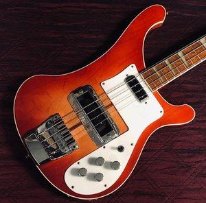 Boyun thru vücut, özel ric 4 dizeleri kiraz 4001 elektrik bas gitar