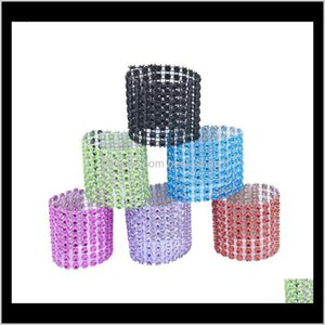 Napkin Ring Chairs Buckles Multicolor Wedding Event Decoration Crafts 8 Row Mesh Rhinestone Holder Handmade Party Supplies Sq3Ib M9N3R