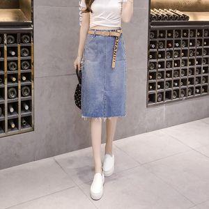Limiguyue Spring Vintage Mujeres de cintura alta Falda de mezclilla femenina Split Jeans Retro Bolsillos Lado Faldas derramadas K049