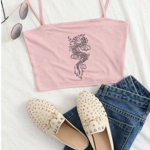 Freitag Frauen 2020 Lässige Sommersaison Neue Schwarzer Stil Baby Rosa Dragon Print Cropped Cami