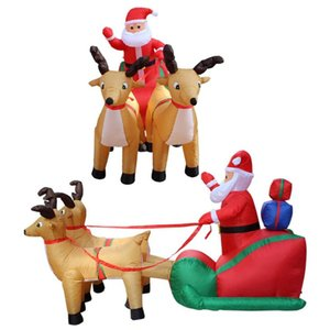 Christmas Decorations Inflatable Santa Snowman Riding Reindeer Doll Set With Built-in LED Winter Outdoor Funny Gift