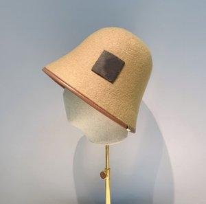 Camel Wool Cloche Hat Rim Leather Winter Bucket Hats Festival Flat Caps Fashion Casual Cap for Women