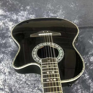12 strings Ovation Guitar handmade acoustic-electric-guitar ebony fretboard with F-5T preamp pickup eq professional folk guitare