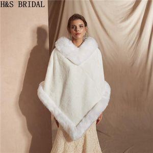 Wraps & Jackets H&S BRIDAL White Warm Faux Fur Shawl Wedding Wrap Winter Bolero Jacket Accessories Coat