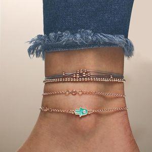 Bohemia Handmade Cotton Rope Gold Plating Alloy Chain Cactus Charm Beads 4pc Set Bracelet Women Jewelry Beaded, Strands